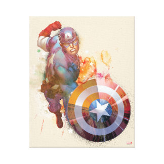 Captain America Watercolor Graphic Canvas Print