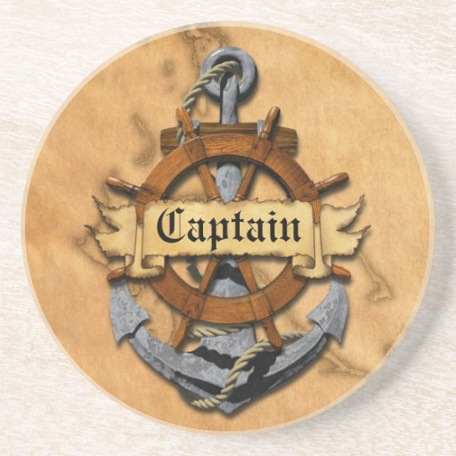 Captain Anchor And Wheel Beverage Coasters