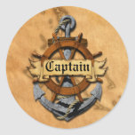 Captain Anchor And Wheel Classic Round Sticker