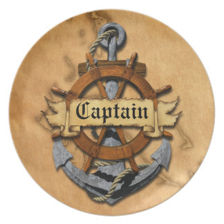 Captain Anchor And Wheel Dinner Plate