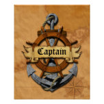 Captain Anchor And Wheel Poster