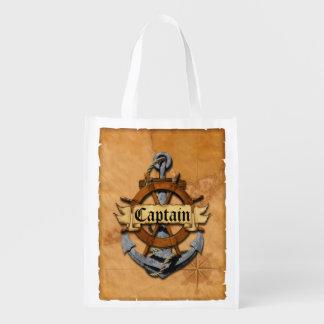 Captain Anchor And Wheel Reusable Grocery Bag
