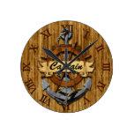 Captain Anchor And Wheel Round Clocks