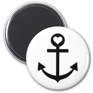 captain anchor heart 2 inch round magnet
