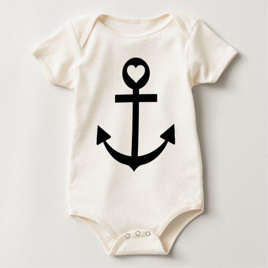 captain anchor heart baby bodysuit