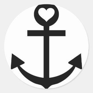 captain anchor heart classic round sticker