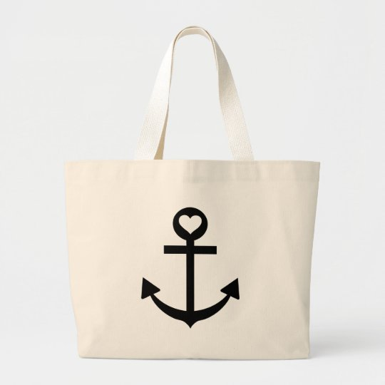 captain anchor heart large tote bag