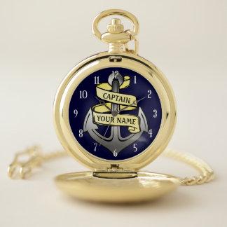 Captain Anchor Nautical Yacht Sailors Custom Name Pocket Watch