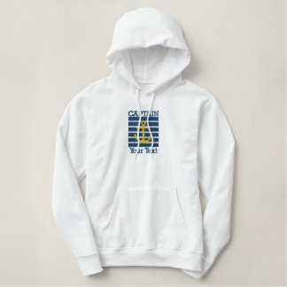 Captain Anchor On Navy Blue Striped background Embroidered Hoodie