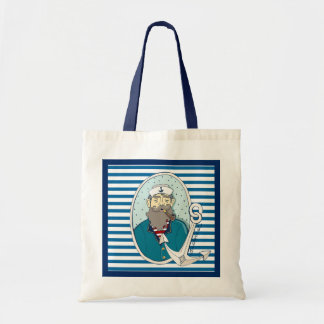 Captain and Anchor Blue and White Stripe Tote Bag