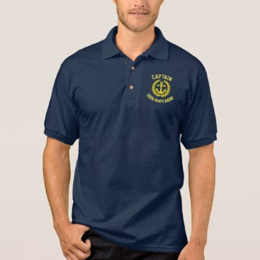 customthreadz Captain and boat name with anchor polo shirt