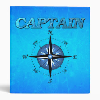 Captain And Compass Rose 3 Ring Binder