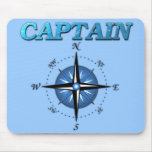 Captain And Compass Rose Mouse Pad