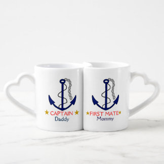 Captain and First Mate 50th Anniversary Nautical Coffee Mug Set