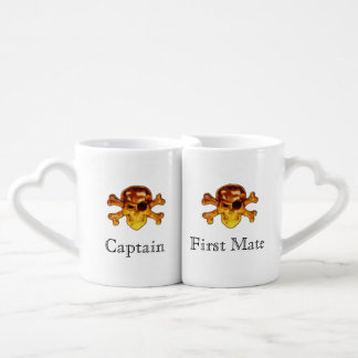Captain and First Mate | Pirate Skull Crossbones Coffee Mug Set
