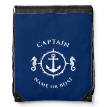 Captain and Name or Boat Nautical Anchor Seahorse Drawstring Bag