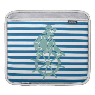 Captain and Ship Wheel Blue and White Stripe Sleeves For iPads