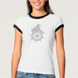 Captain at the Ship's Wheel Ladies Ringer Tshirt