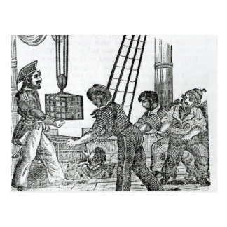 Captain Avery receiving three chests of Treasure Postcard