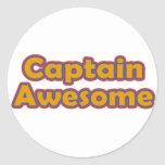 Captain Awesome Classic Round Sticker