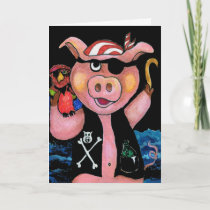 Captain Bacon,Pirate Pig & His Parrot - I love you Card