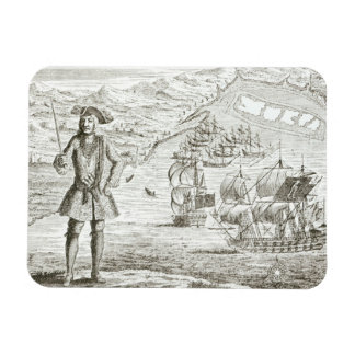 Captain Bartholomew Roberts (1682-1722) with two s Rectangular Magnet