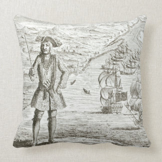 Captain Bartholomew Roberts (1682-1722) with two s Throw Pillow