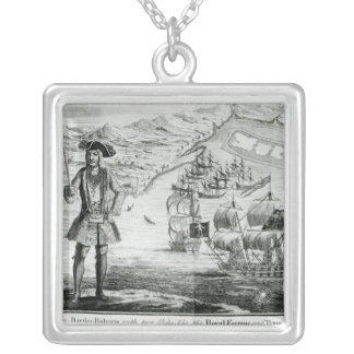 Captain Bartholomew Roberts  with two ships Square Pendant Necklace