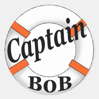 captain bob round stickers