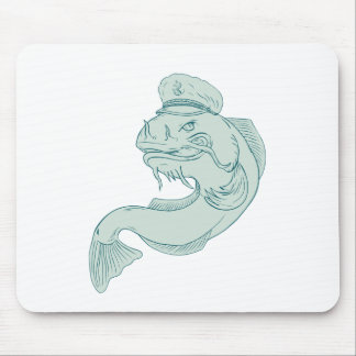 Captain Catfish Drawing Mouse Pad