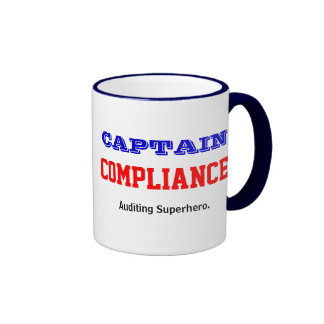 Captain Compliance Auditing Superhero Ringer Coffee Mug