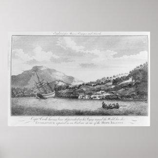 Captain Cook having been shipwrecked Print