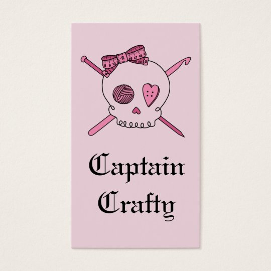 Captain Crafty Skull & Craft Supplies (Pink Back) Business Card