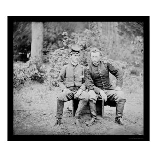 Captain Custer with a Confederate Prisoner 1862 Posters