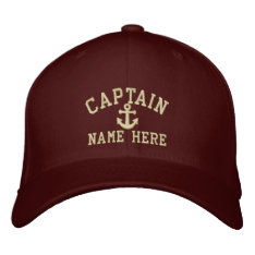 Captain - Customizable Embroidered Baseball Cap at Zazzle
