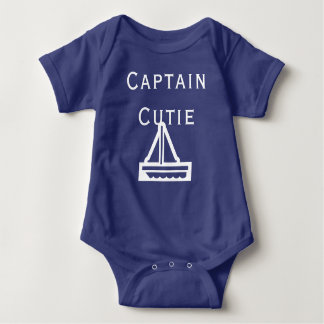 Captain Cutie With Sailboat Baby Bodysuit