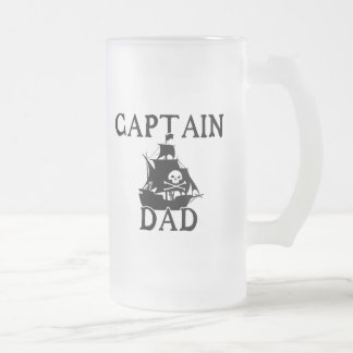 Captain Dad Frosted Glass Mug