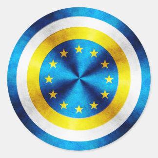 Captain Europe Hero Shield Classic Round Sticker