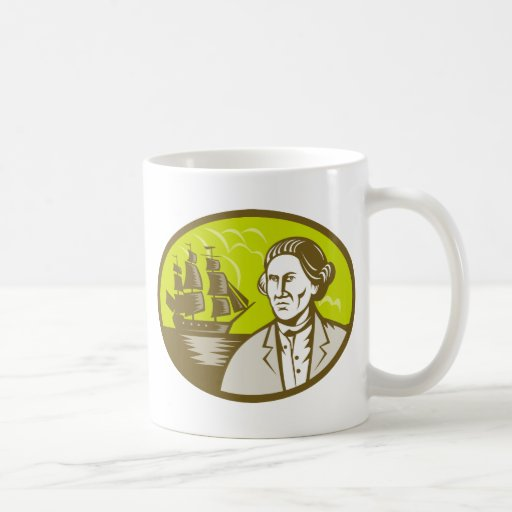 Captain explorer with tall ship galleon coffee mugs