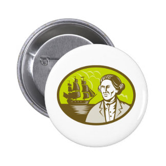 Captain explorer with tall ship galleon pins
