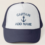 "Captain hat with nautical anchor and custom name<br><div class=""desc"">Captain hat with nautical anchor and custom name. Vintage typography template for sailor. Make your own personalized hat for sailing / boating. Navy blue boat / ship anchor symbol with grungy text. Cute Birthday or Fathers Day gift idea for men. Make your own for dad, uncle, father, brother, husband etc....</div>"