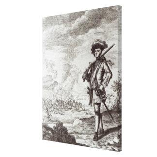 Captain Henry Morgan at the sack Canvas Print