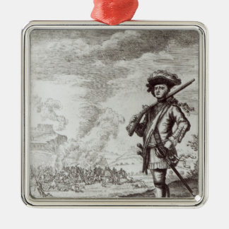 Captain Henry Morgan at the sack Square Metal Christmas Ornament