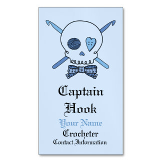 Captain Hook Crochet Skull (Bow Tie) Magnetic Business Card