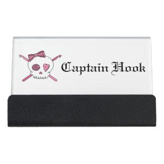 Captain Hook -Crochet Skull (Hair Bow) Desk Business Card Holder