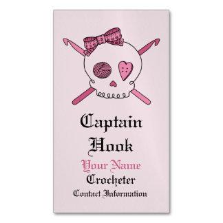 Captain Hook -Crochet Skull (Hair Bow) Magnetic Business Card