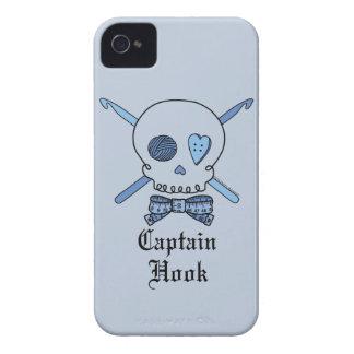 Captain Hook Skull & Crochet Hooks (Blue Back) iPhone 4 Case