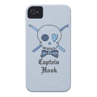 Captain Hook Skull & Crochet Hooks (Blue Back) iPhone 4 Covers