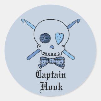 Captain Hook Skull & Crochet Hooks (Blue Back) Classic Round Sticker