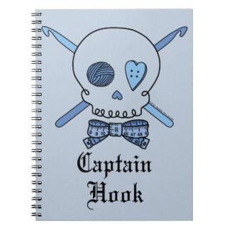 Captain Hook Skull & Crochet Hooks (Blue Back) Spiral Note Book